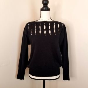 Women's vintage black cut out angora sweater top L